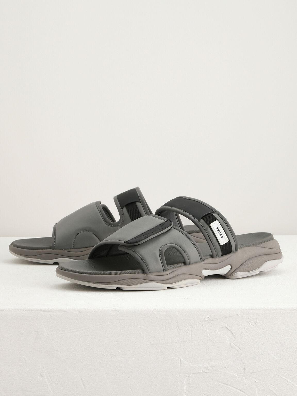 Double Strap Velcro Sandals, Light Grey, hi-res