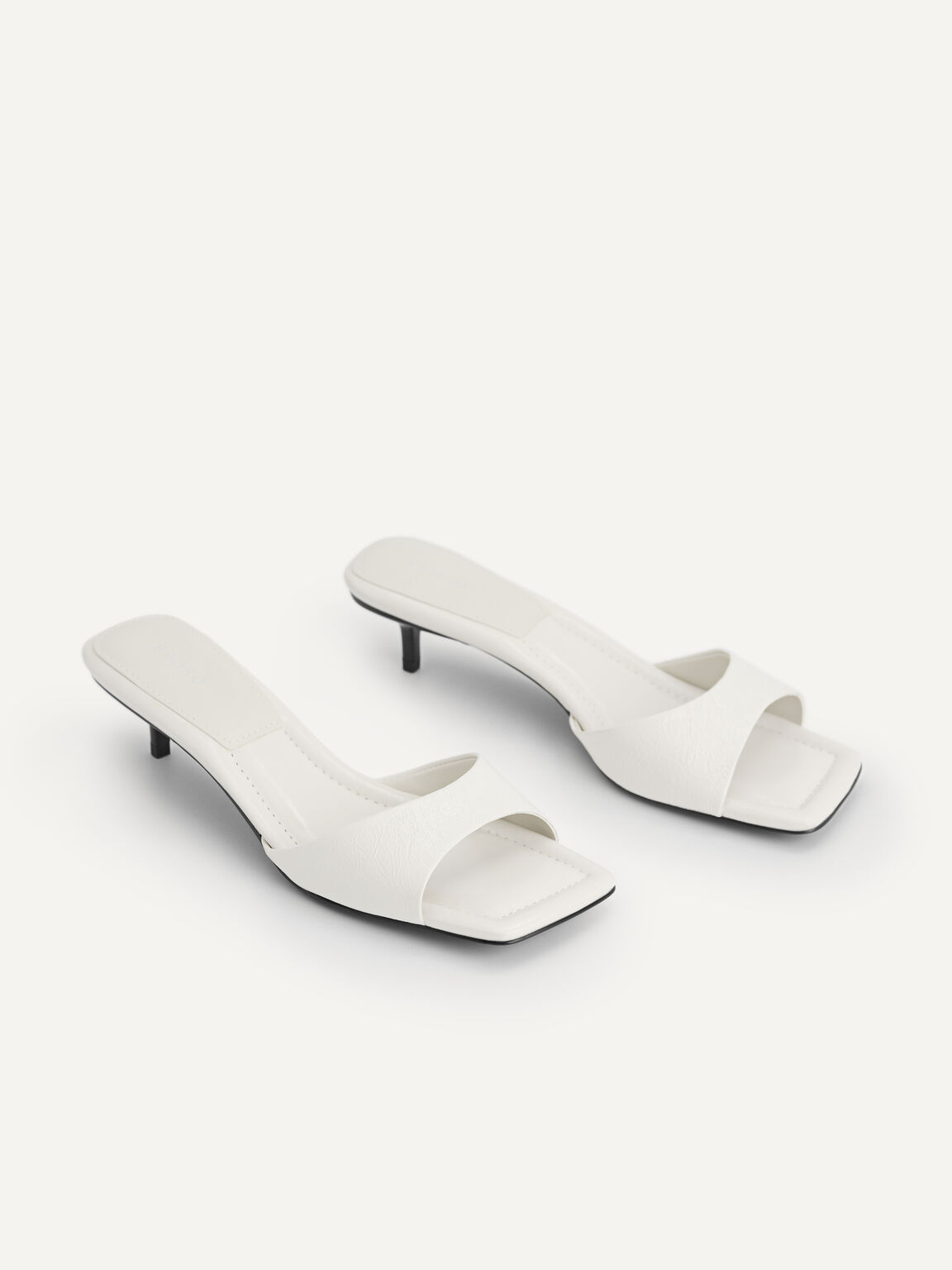 Chain-Strap Leather Heeled Sandals, Chalk, hi-res