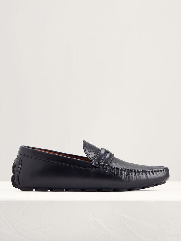 Embellished Leather Moccasins, Black, hi-res