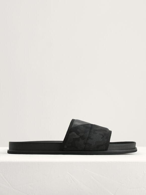 Camouflage Printed Sliders, Black, hi-res