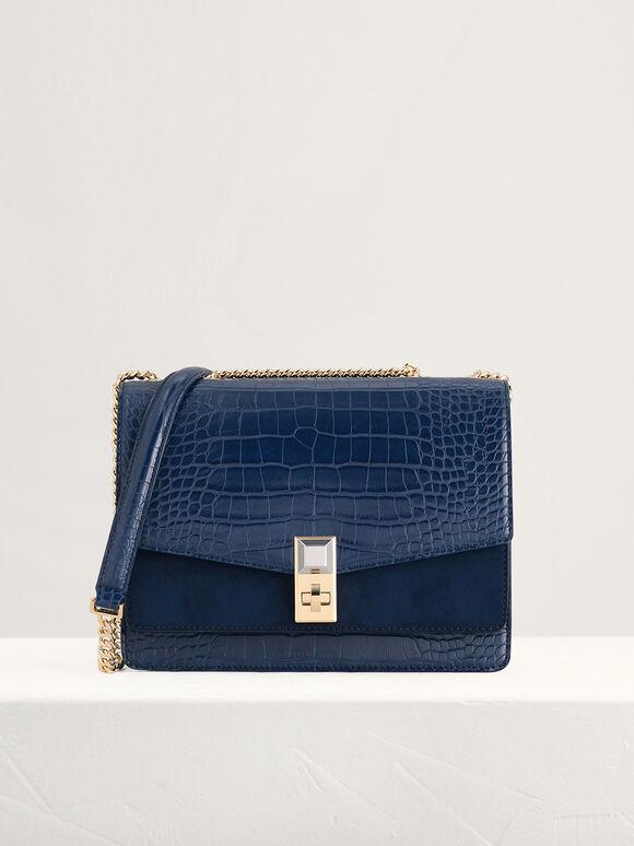 Croc-Effect Shoulder Bag, Navy, hi-res