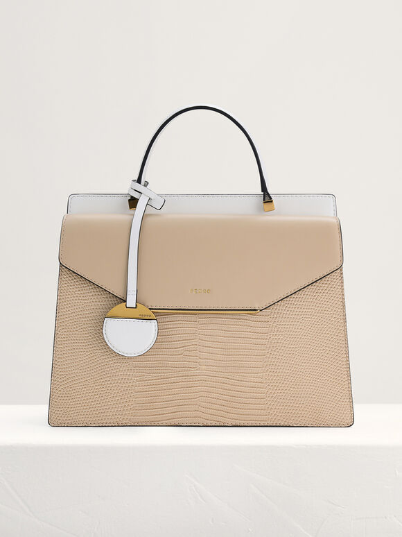 Lizard-Effect Structured Top Handle Bag, Beige, hi-res