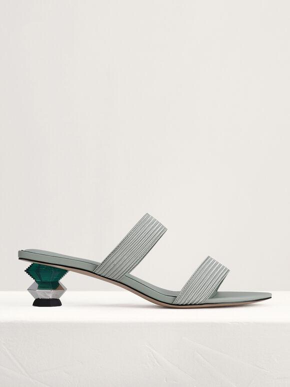Geometric Heeled Sandals, Mint, hi-res