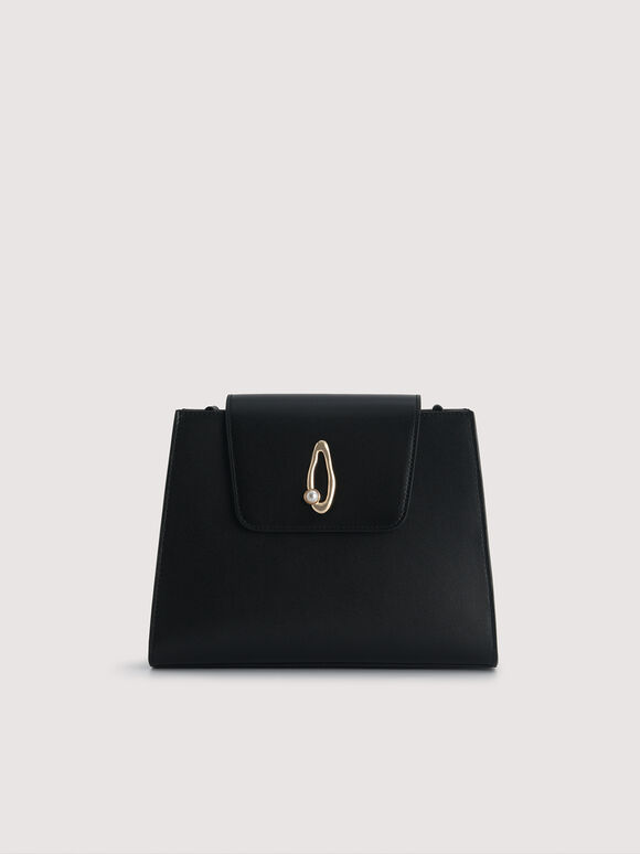 Leather Top Handle Bag with Pearl Strap, Black, hi-res