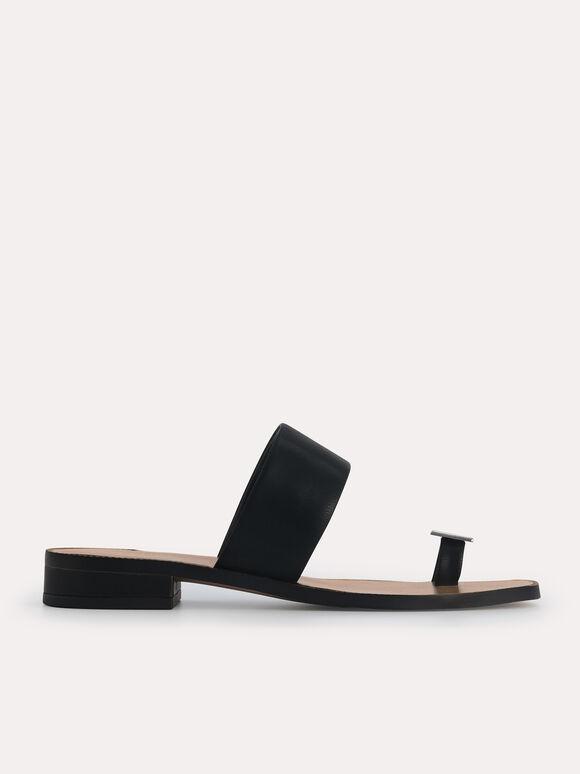Gold Ornament Toe Loop Sandals, Black, hi-res