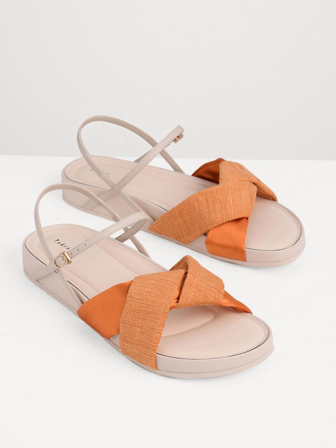 Knotted Flatform Sandals, Mustard, hi-res