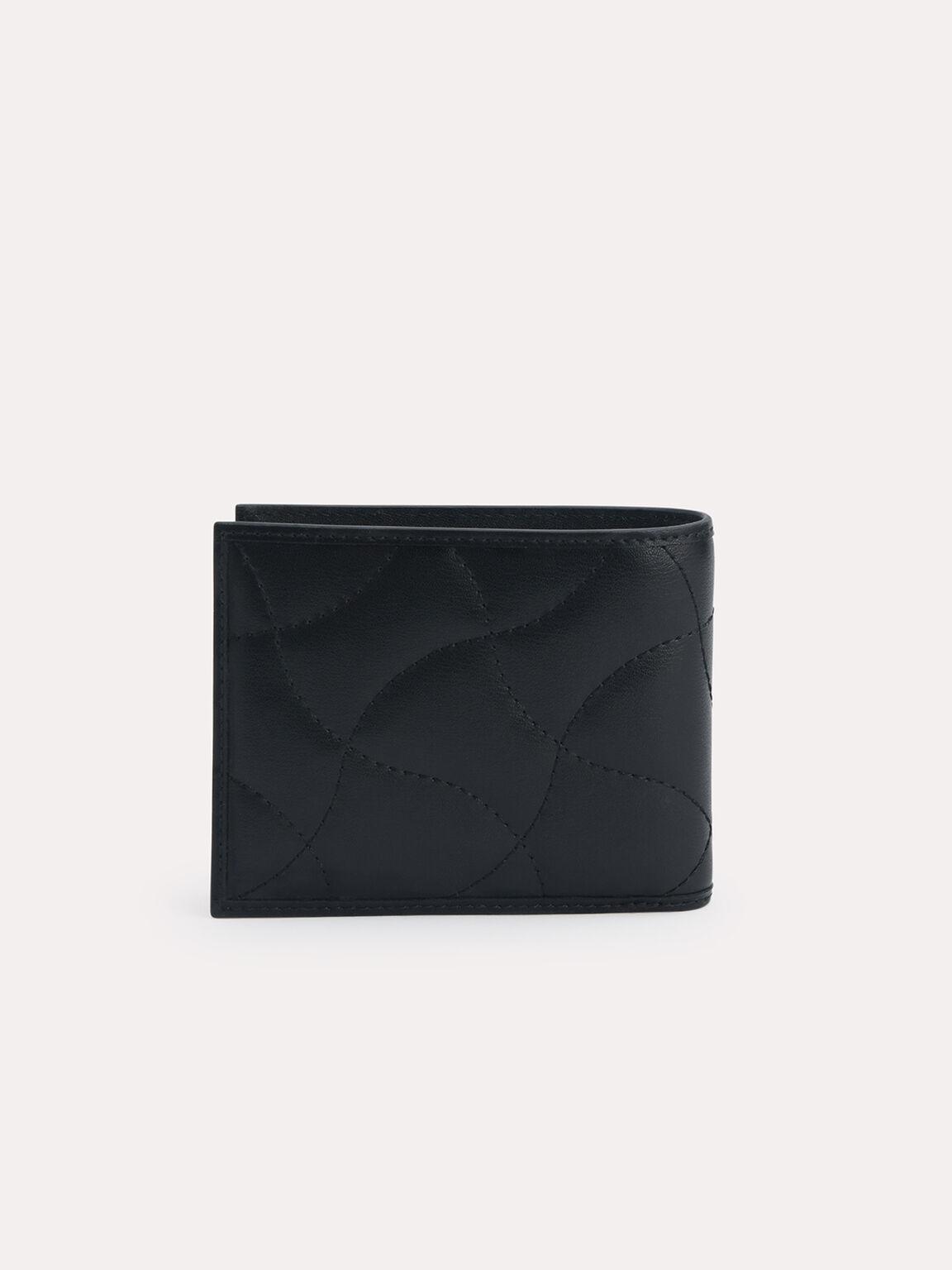 Abstract Quilted Bi-Fold Wallet, Black, hi-res