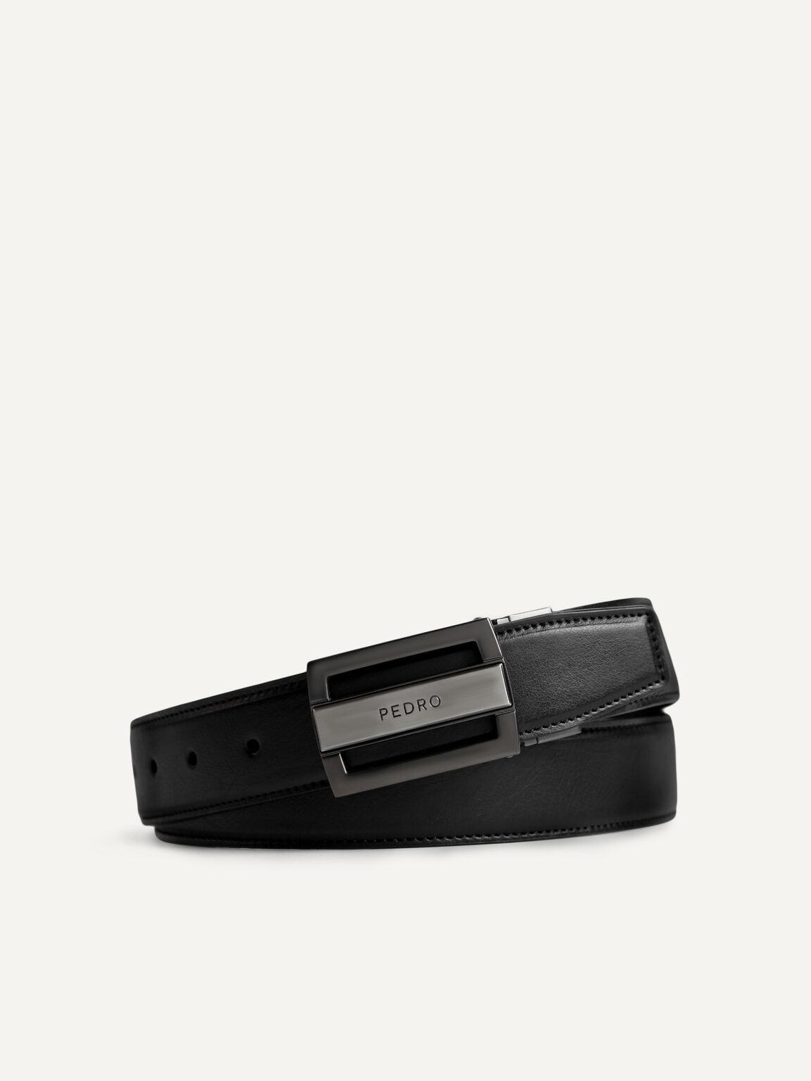 織紋雙面扣皮帶, 黑色, hi-res