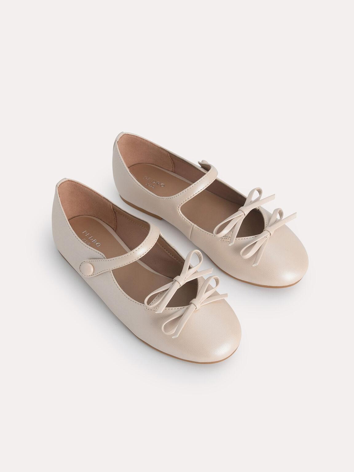 Double Bow Ballerina Flats, Nude, hi-res