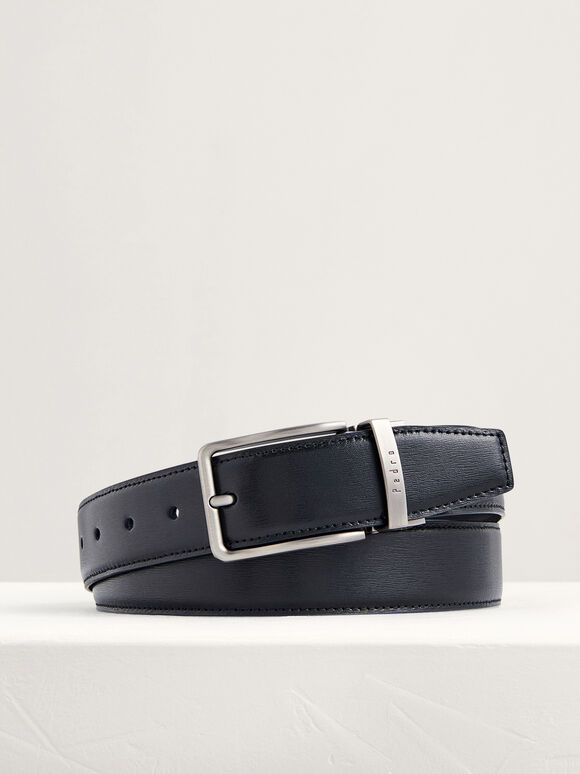 Reversible Leather Pin Belt, Black, hi-res