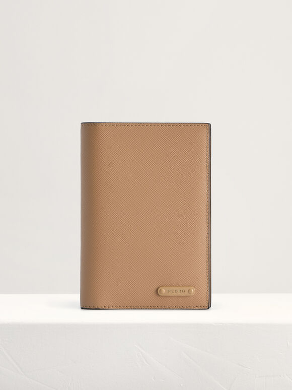 Leather Passport Holder, Taupe, hi-res