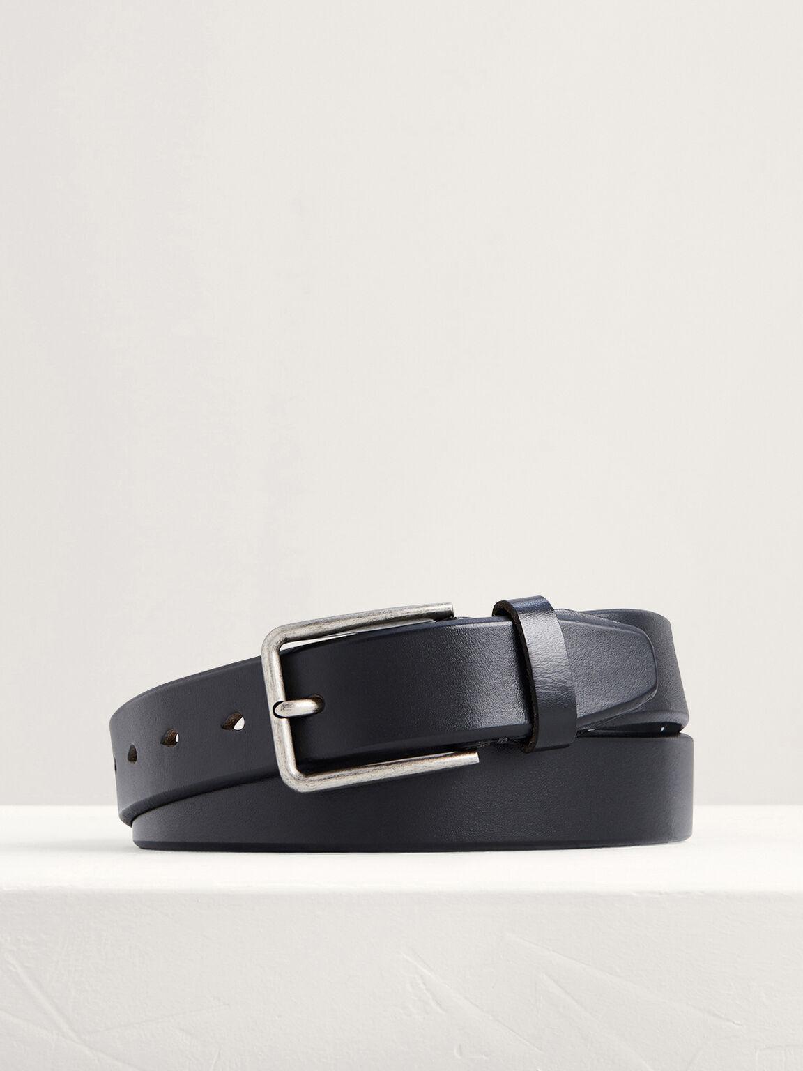Leather Pin Belt, Black, hi-res