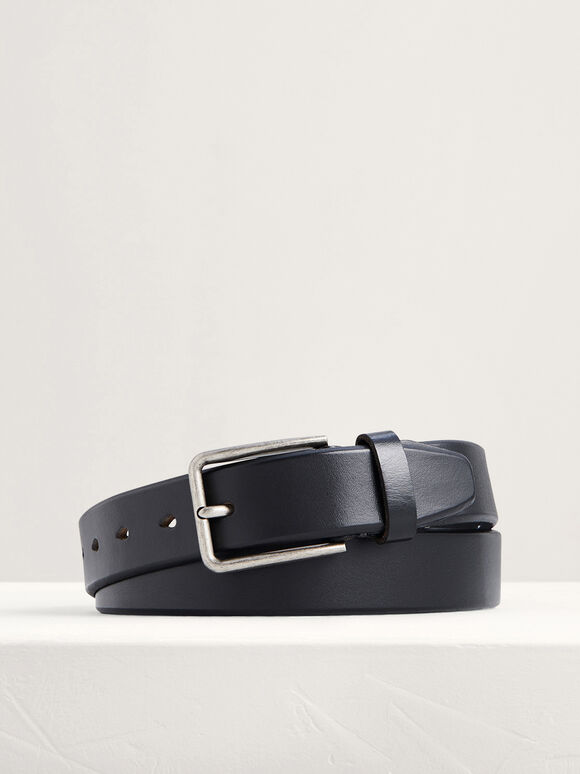 Leather Pin Belt, Black, hi-res