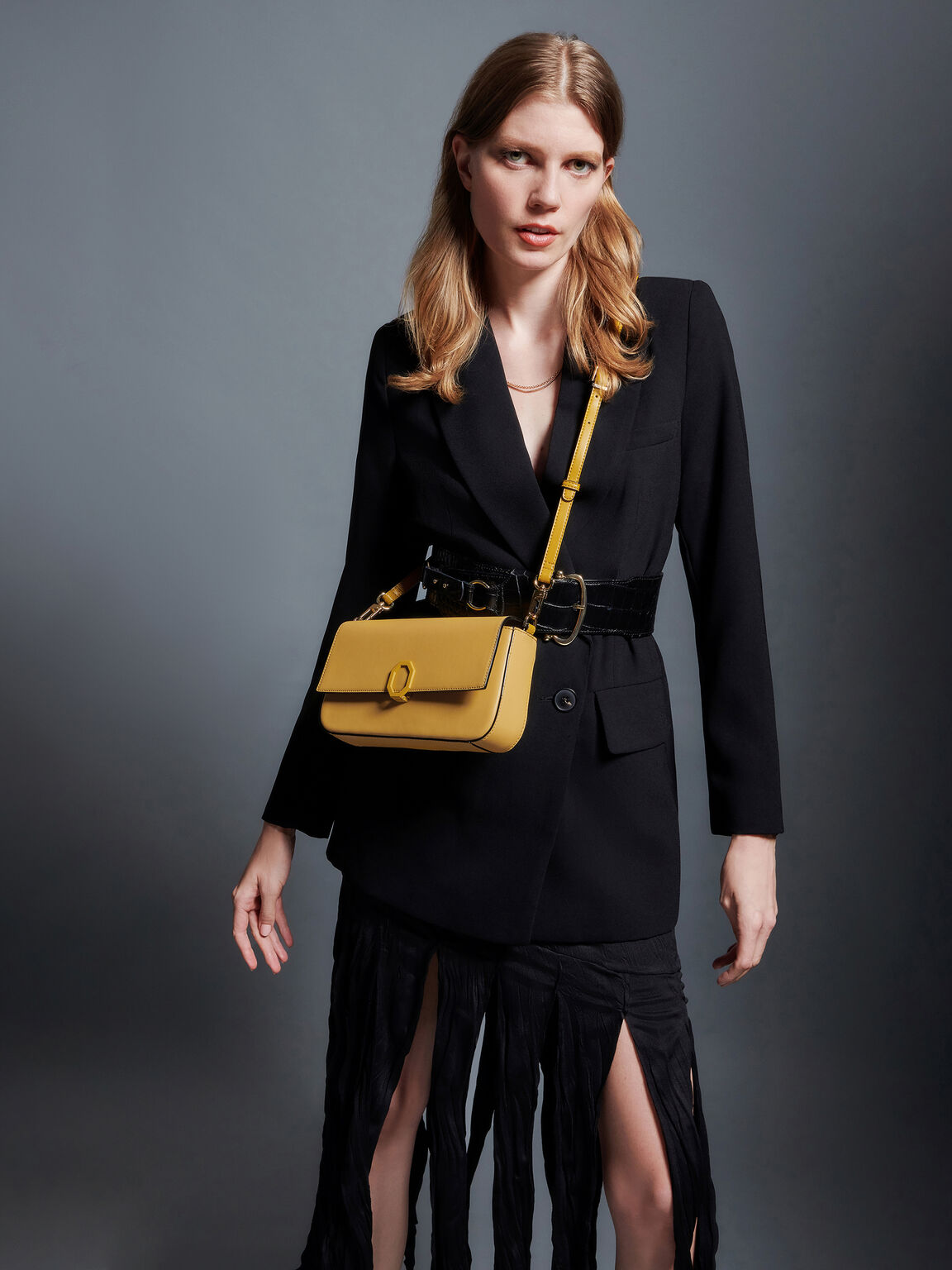 Leather Top Handle Bag, Yellow, hi-res