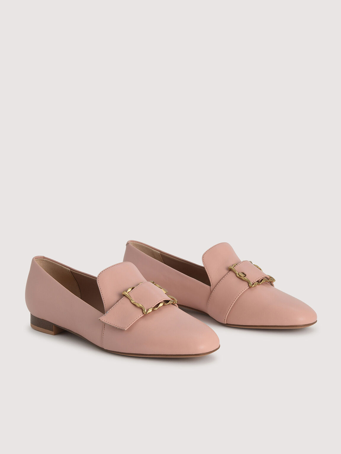 Leather Buckled Loafers, Nude, hi-res