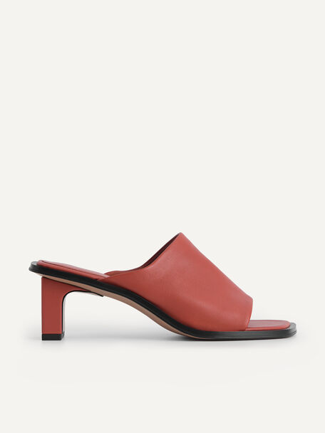 Leather Heeled Mules, Brick, hi-res