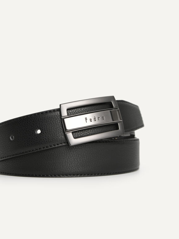 Textured Leather Reversible Tang Belt, Black, hi-res
