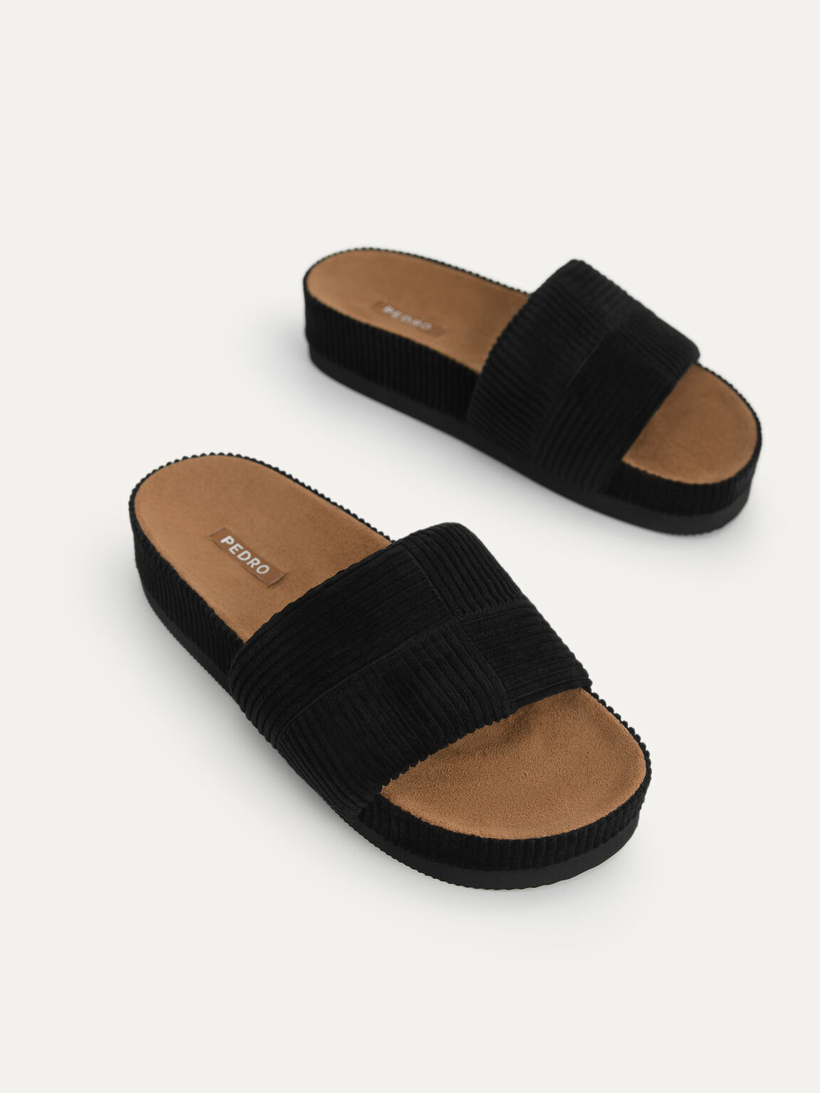 Corduroy Flatform Sandals, Black, hi-res