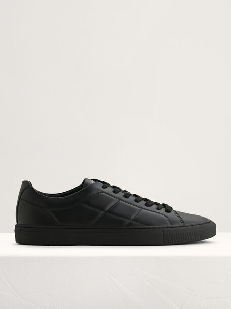 Quilted Court Sneakers, Black, hi-res