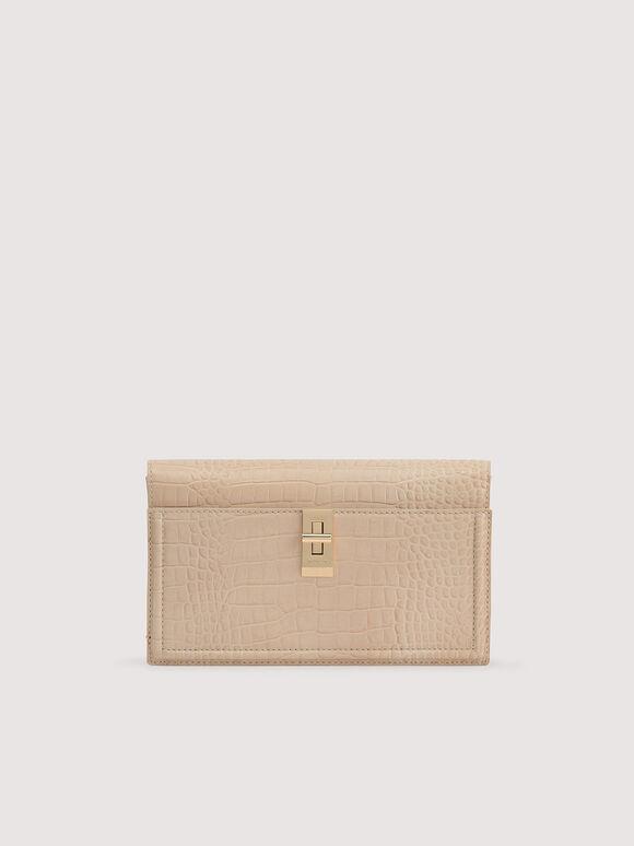Embossed Leather Shoulder Bag, Nude, hi-res