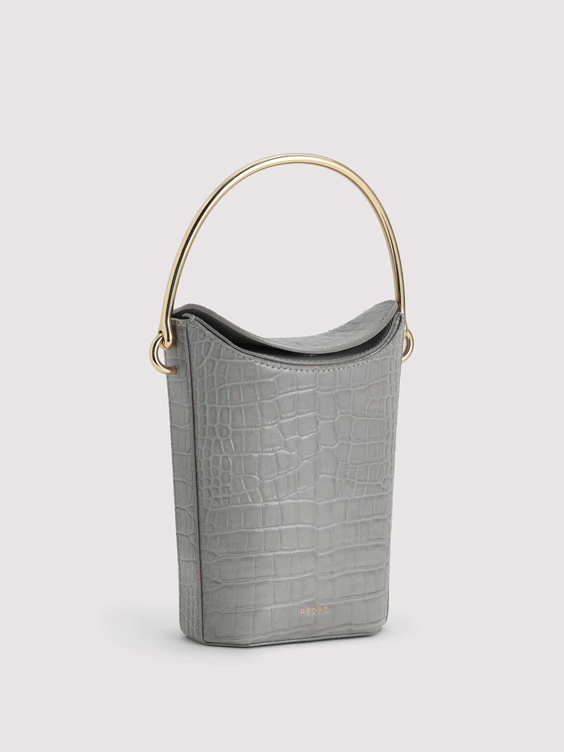 Embossed Leather Bucket Bag, Light Grey, hi-res