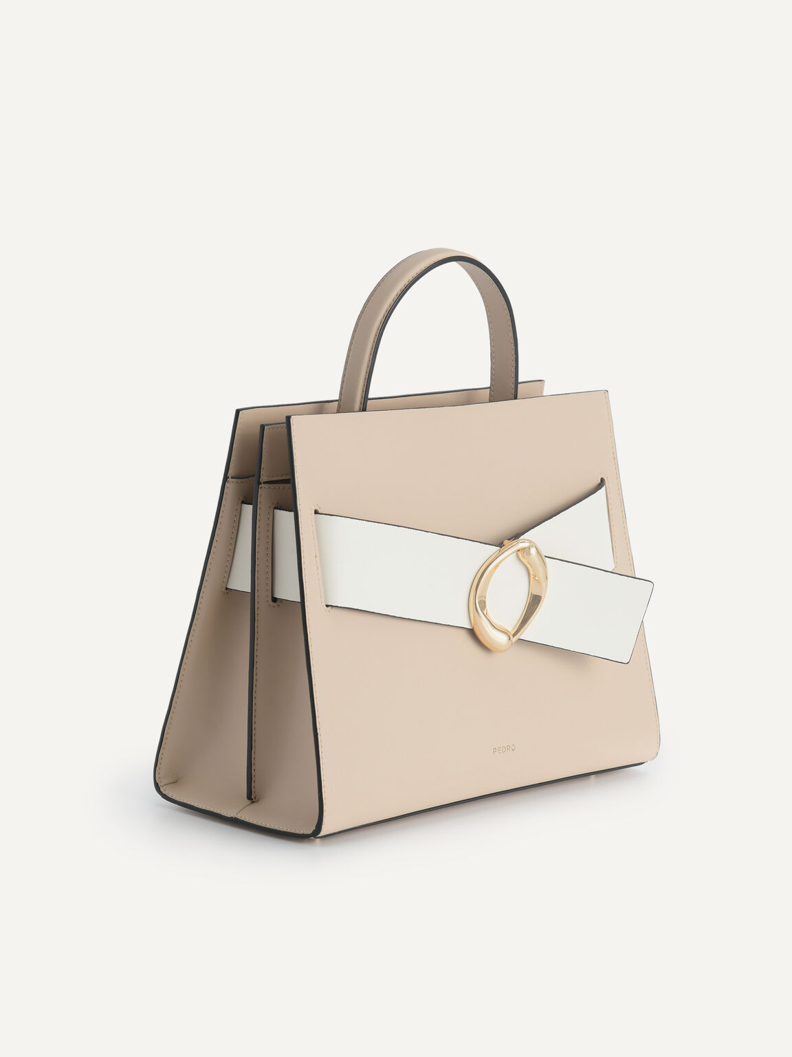 Structured Leather Top Handle Bag, Sand, hi-res