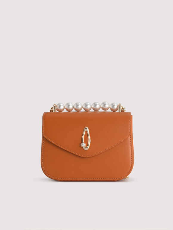 Pearl Detail Leather Shoulder Bag, Orange, hi-res