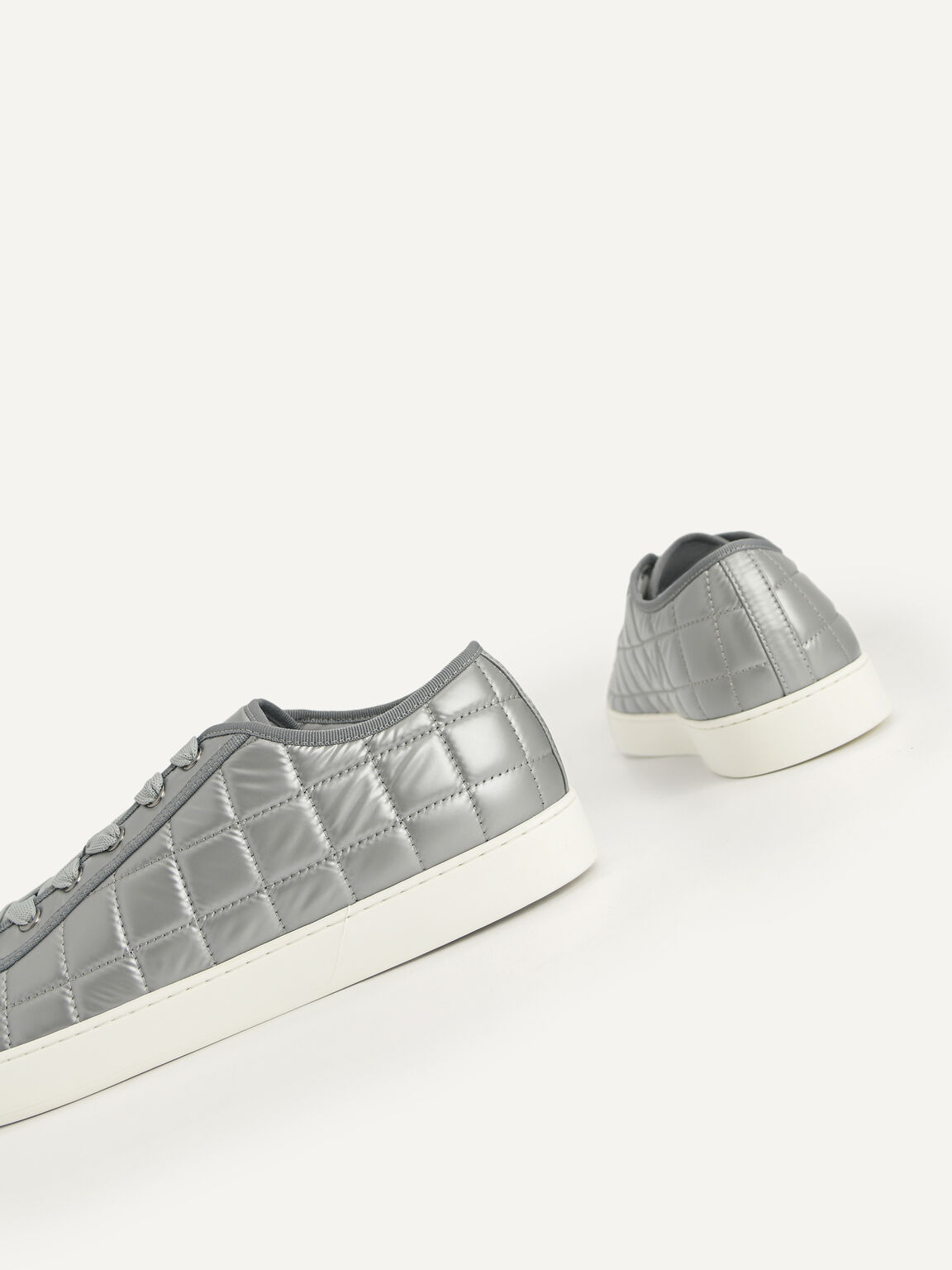 Quilted Court Sneakers, Grey, hi-res