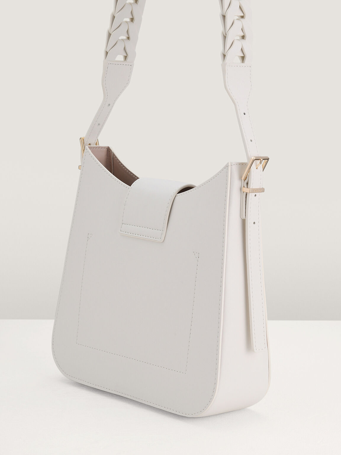 Structured Hobo Bag, White, hi-res