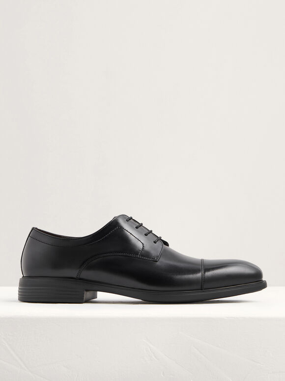 Lightweight Leather Cap Toe Derby Shoes, Black, hi-res