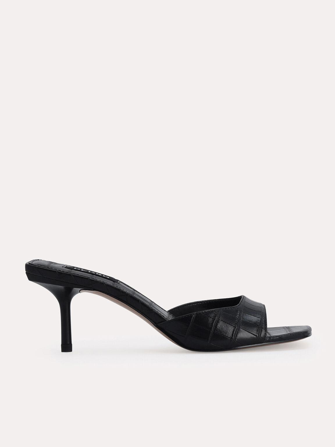 Croc-Effect Heeled Sandals, Black, hi-res