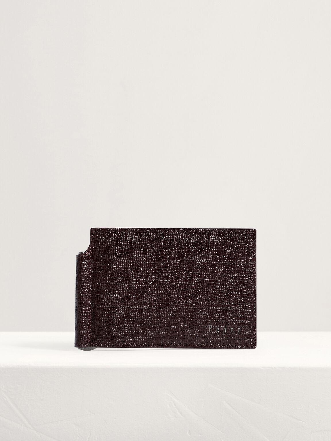 Leather Bi-Fold Money Clip Card Holder, Dark Brown, hi-res