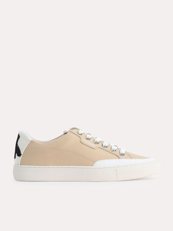 Casual Court Sneakers with Cow Print Detailing, Sand, hi-res