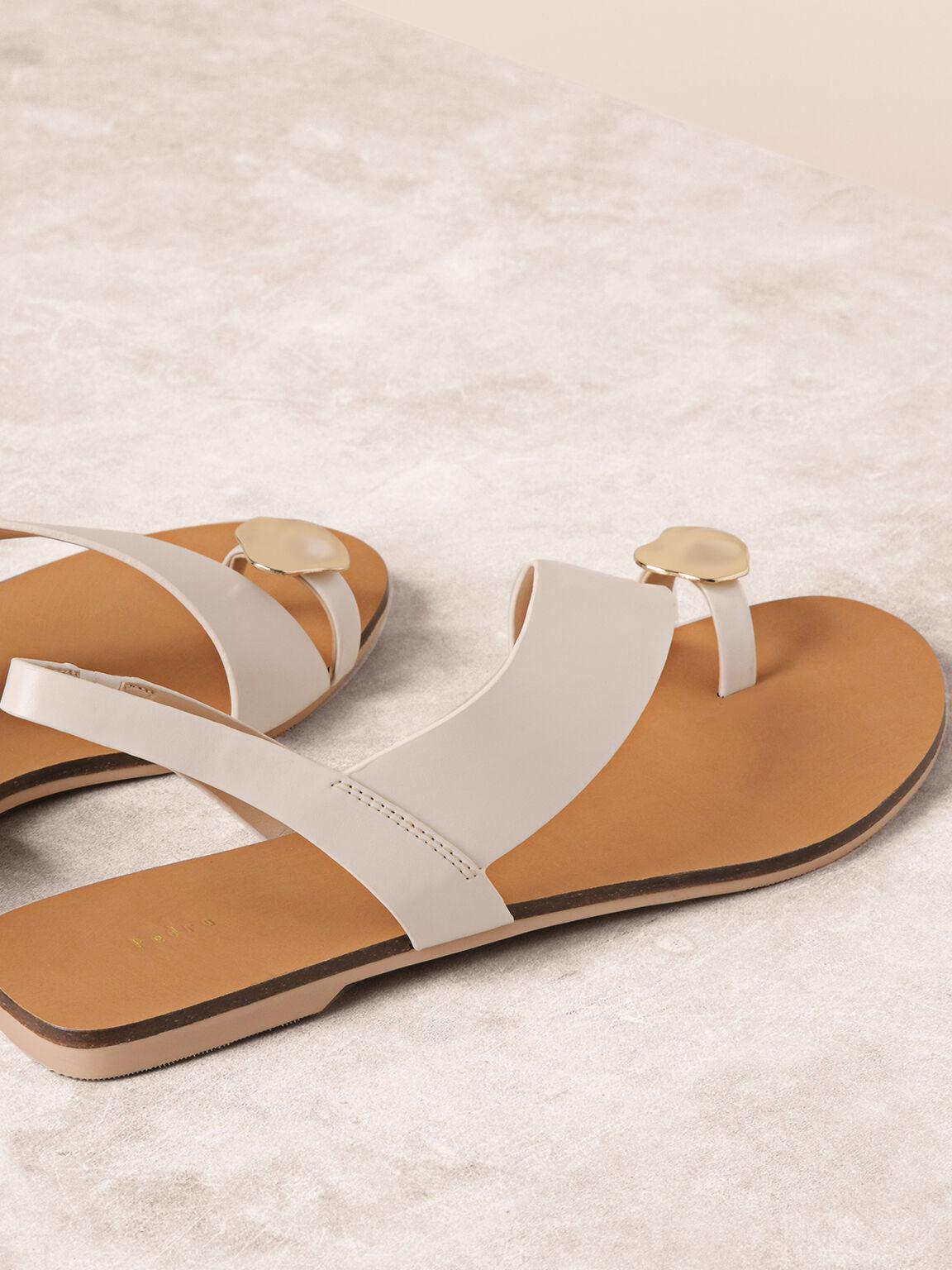 Embellished Toe-Ring Slingback Sandals, Off White, hi-res