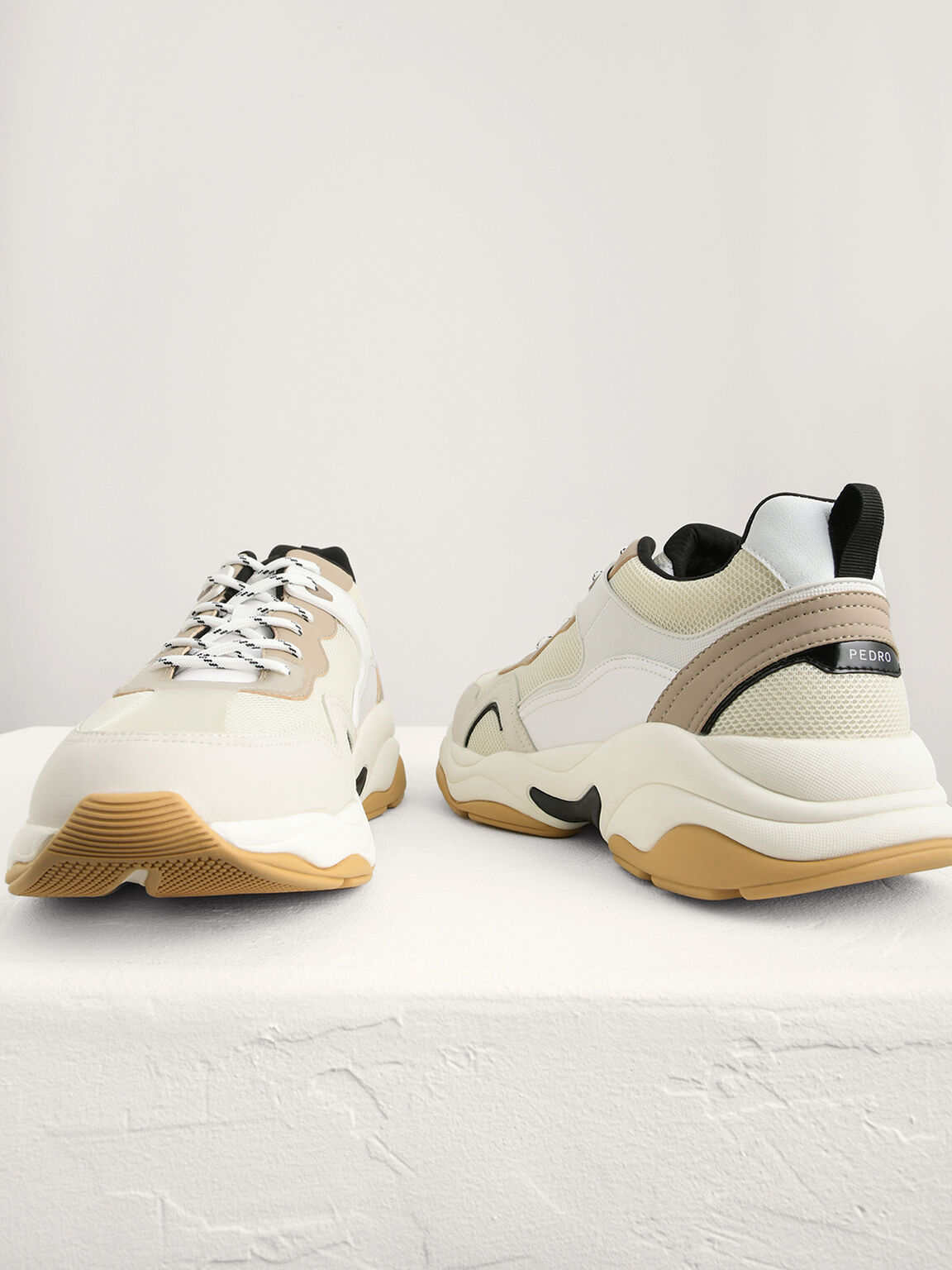 Chunky Mesh Sneakers, Beige, hi-res