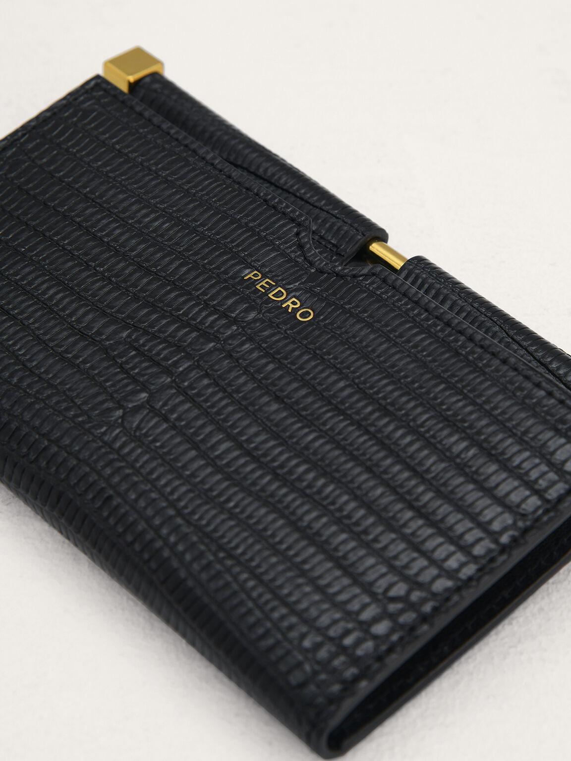 Lizard-Effect Leather Card Holder, Black, hi-res