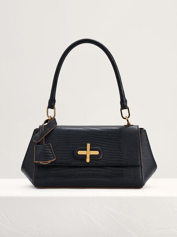 Lizard-Effect Top Handle Bag, Black, hi-res