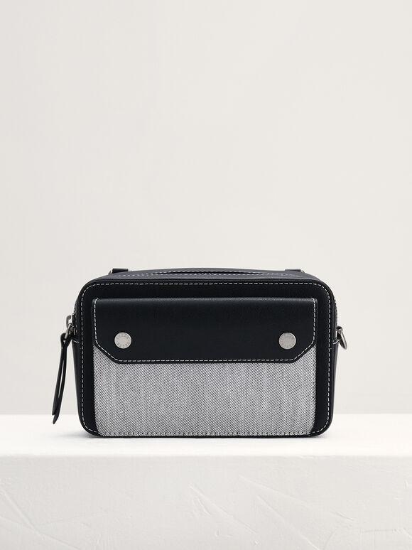 Braided Top Handle Bag, Black, hi-res