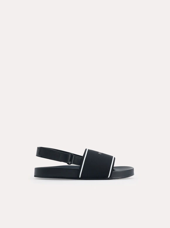 Monochromatic Casual Sandals, Black, hi-res