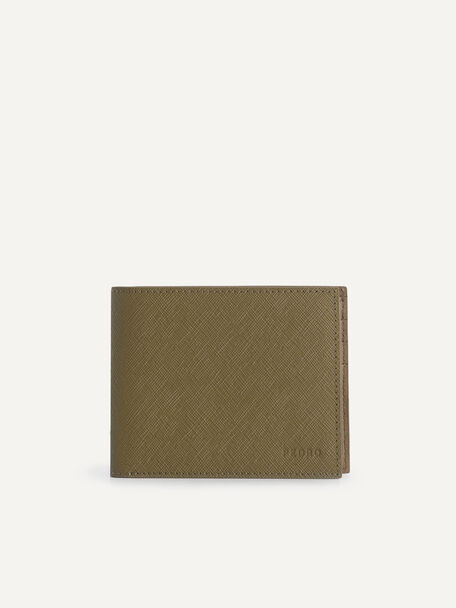 Leather Bi-Fold Wallet with Insert, Olive, hi-res