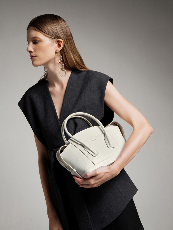 Embossed Leather Top Handle bag, Chalk, hi-res