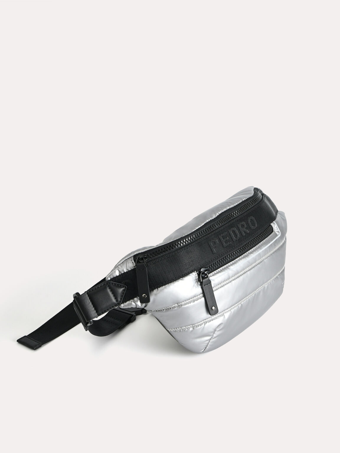 Metallic Quilted Sling Pouch, Silver, hi-res