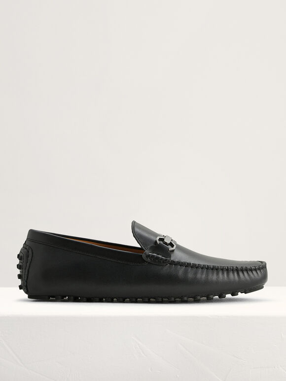 Leather Bit Moccasins, Black, hi-res
