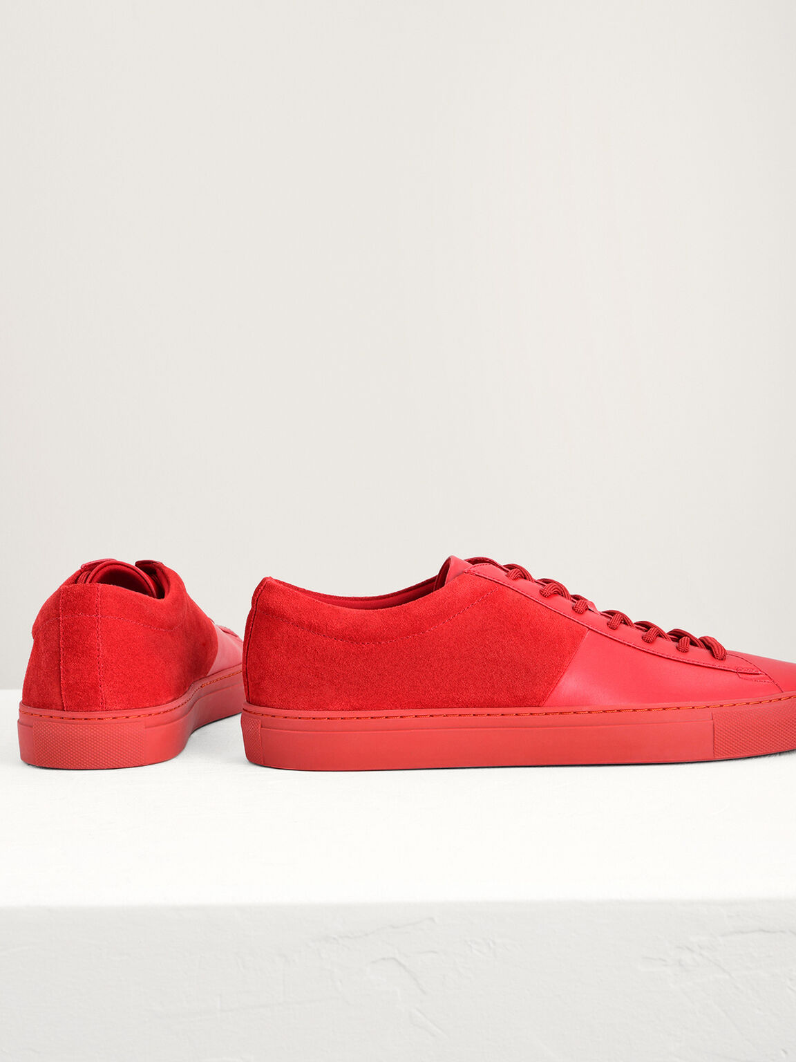 Suede Court Sneakers, Red, hi-res