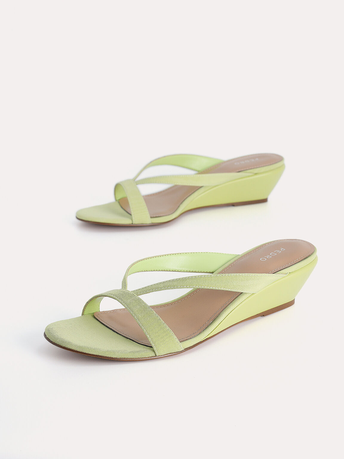 Strappy Slip-On Wedges, Light Green, hi-res