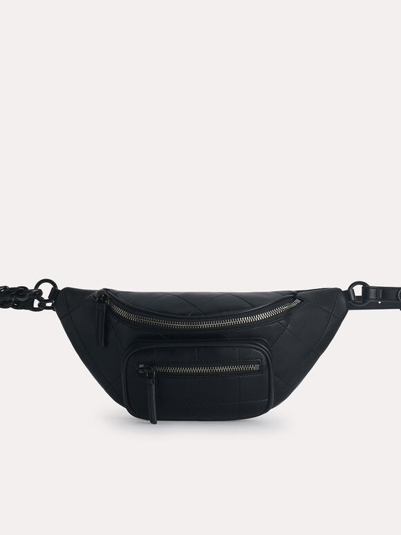 Quilted Sling Bag, Black, hi-res