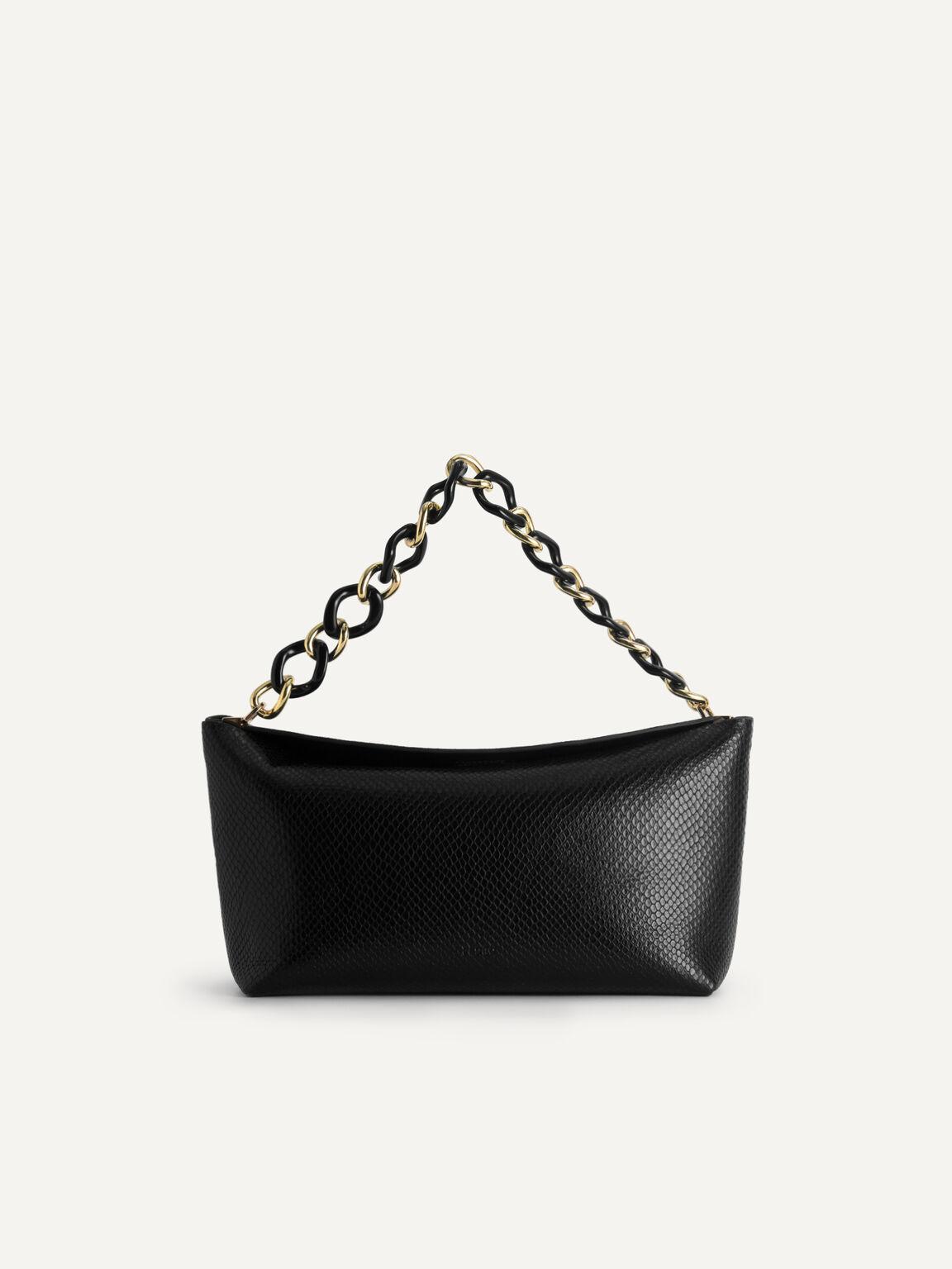 Snake-Effect Leather Hobo Top Handle Bag, Black, hi-res