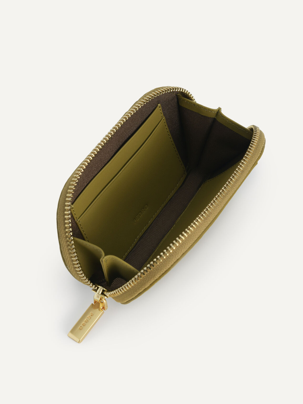 Textured Leather Pouch, Light Green, hi-res