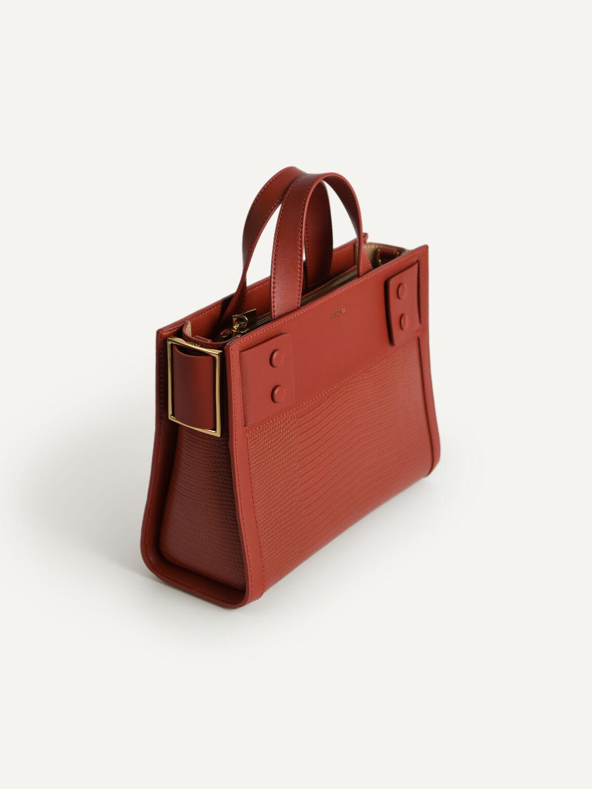 Lizard-Effect Leather Top Handle Bag, Brick, hi-res