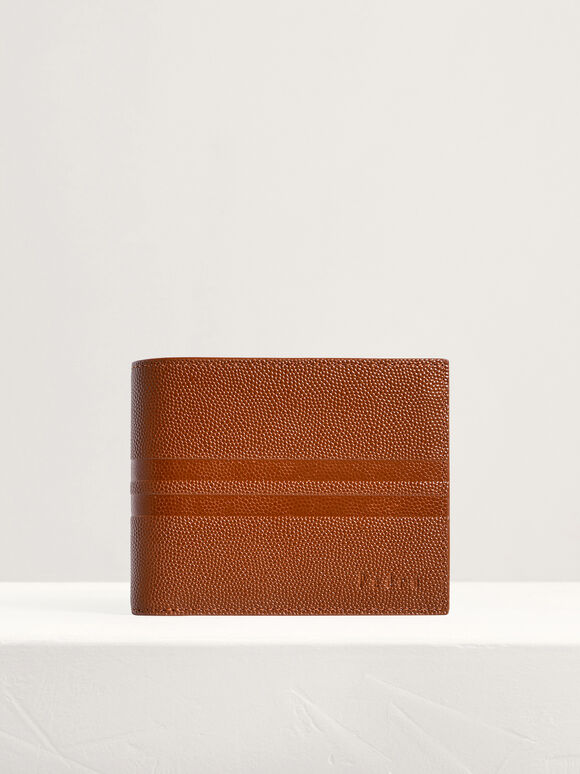 Striped Leather Bi-Fold Flip Wallet, Cognac, hi-res
